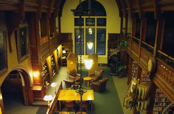 Methuen MA Nevins Memorial Library Inside View at Night